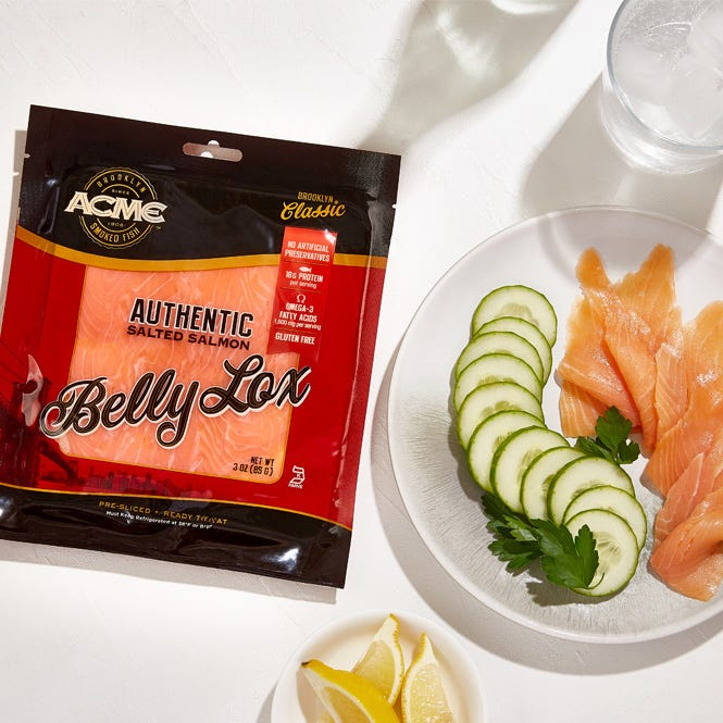 Acme salty lox with sliced cucumbers