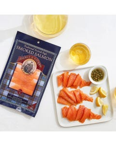 Scottish-style smoked salmon with capers and lemon