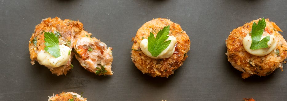Hot Smoked Salmon Cakes with Old Bay Mayo