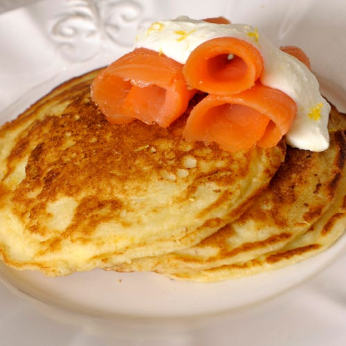 LEMON RICOTTA PANCAKES WITH SALTY LOX