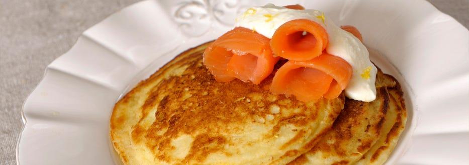 Lemon Ricotta Pancakes with Salty Lox
