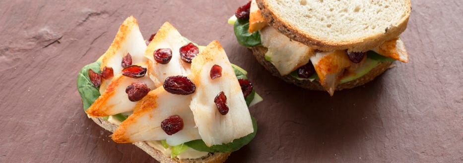 Smoked Sable on Rye Bread with Apple, Cranberries, and Dijon Mustard