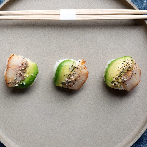 SMOKED SABLE AND AVOCADO RICE BALL